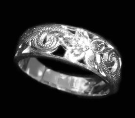 Hawaiian Flower Cut Out Swirl Sterling Silver Ring shipped from Hawaii