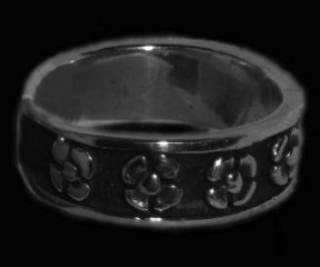 Hawaiian Flower Band Sterling Silver Ring shipped from Hawaii
