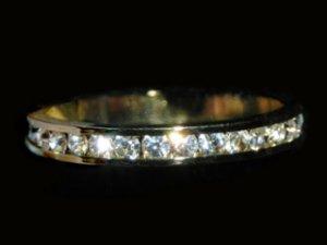 Gold Zirconia Eternity Engagement Ring