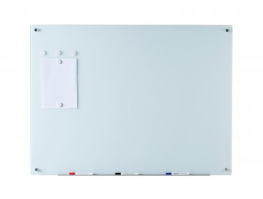 "Magnetic Glass Dry-Erase Board Set - 35.5"" x 47.25"" - incl. Board, Magnets, Eraser, and Marker Tray"