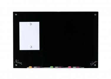 """Magnetic Black Glass Dry-Erase Glass Board - 23 5/8"""" x 35 1/2"""" - includes Tray and 2 Magnets"""