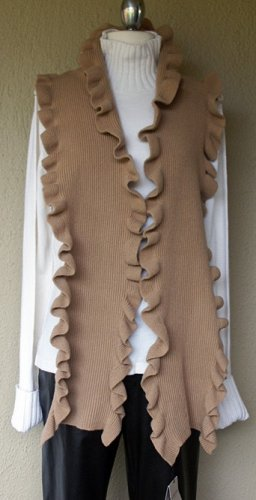 100% Cashmere Scolloped Scarf NWT $345 Beige High Quality