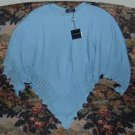 Blue Poncho Cape Wrap Cashmere & Wool Retail $350 One Size