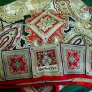 Burberrys Silk + Wool Scarf Wrap Shawl Vintage Red Beige Gold Wine Black