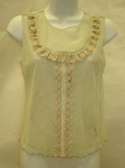 Anthropologie Green Melon Sheer Blouse Top M NEW