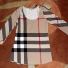 M Burberry Nova Check Top Shirt Tee Medium 6 8 NWT $175