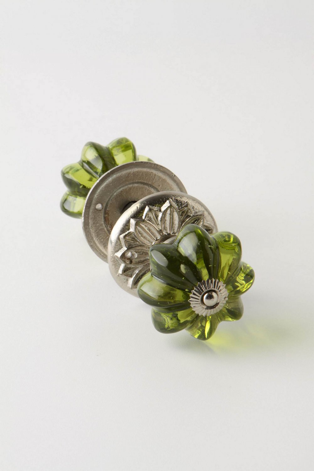 Anthropologie Glass Melon Doorknob Silver Tone & Olive Green