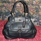 Ellen Tracy Black Leather Handbag Purse Bag Tote GORGEOUS Black