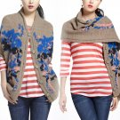 $248 Anthropologie Lucia Delphinium Shawl Sweater Small / Medium Handknit Janis Stemmermann