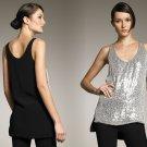 2 Diane Von Furstenberg Desta Embellished Top Silver Sequins Black Silk Club Small DVF