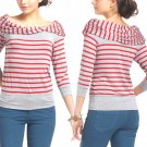 Anthropologie French Boatneck Top Large 10 12 Grey + Red Stripes Bordeaux