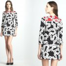 4 Diane von Furstenberg Ruri Black Chain Print Dress Small Retail $345