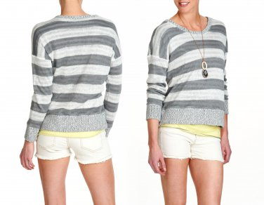 M Eileen Fisher Boxy Stripe Sweater $278 Double Layer Organic Linen Medium 6 8