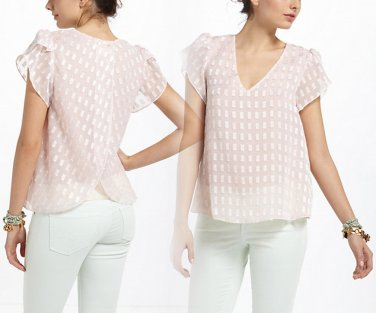 Anthropologie Butterfly Blouse Shirt Small NWT Pink Chiffon Flutter Romantic