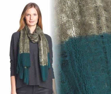 Eileen Fisher Two-Tone Wool Scarf Gauzy Wool Caper Lacy Tendrils NWT Greens Bluess