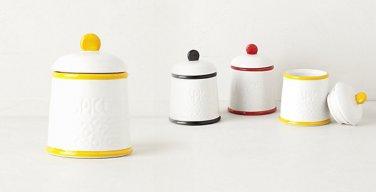 1 Piece Anthropologie Striped Spice Jar Yellow & White Stoneware NIB