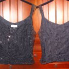 Tahari Cocktail Sparkle Tank Top P4 Small Black Side Zipper Petite Cami Sexy NWOT