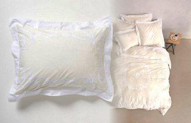 2 Pcs Anthropologie Cream Enes Standard Shams Medallion Bedding Cotton Percale