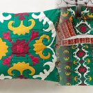 Anthropologie Dalian Hand-embroidered Euro Sham Green Yellow Red One Sham