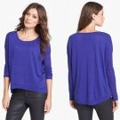 Eileen Fisher Sloped Hem Organic Linen Top Shirt Blouse Small Blue Violet 2 4