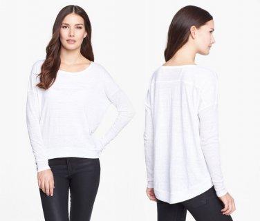 S Eileen Fisher Sloped Hem Organic Linen Top Shirt Blouse Small White 2 4