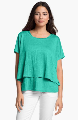 S Eileen Fisher Linen Jersey Poncho Small 2 4 Mint Green Cropped Bateau Neck