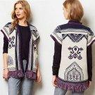 $148 Anthropologie Fringed Lamaline Cardigan Sweater XS S 0 2 4 6 Oversized Wool Blend Boho