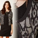 M Anthropologie Leopard Glint Cardi Cardigan Grey Motif  Sweater Medium Cotton Knitted & Knotted 6 8