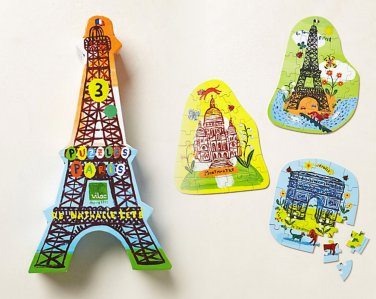 Anthropologie Three Paris Puzzles in One France Parisian Monuments Eiffel Tower Colorful