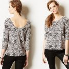 M Anthropologie Greyfield Jacquard Pullover Top Medium Purple Motif Meadow Rue 6 8