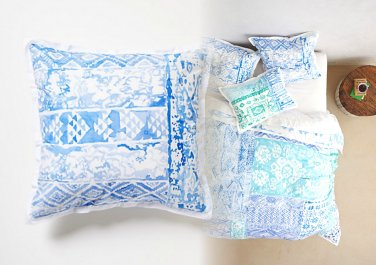 Anthropologie Kassita Euro Shams 2 Moroccan Blue Cotton Percale