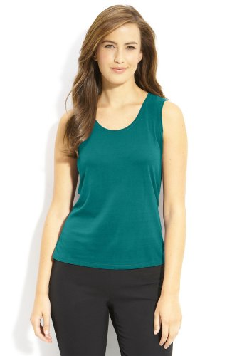 PM Eileen Fisher Silk Tank Blue / Green Petite Medium Top Blouse Shell