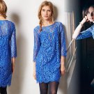 M Anthropologie Overture Shift Dress Blue Lace Medium 6 8 HD in Paris