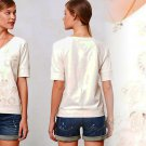 S Anthropologie Embroidered Posies Sweatshirt Ivory Top Small 2 4 NWT Saturday/Sunday
