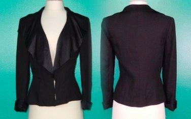 Anthropologie Blazer Jacket 2 XSmall Small Black Draping Silk Charmeuse Lapels