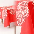 "Anthropologie Mina Tablecloth 72"" x 90"" Coral White Patterns Cotton GORGEOUS"