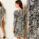 M Anthropologie Textured Wrap Dress Medium 6 8 Black & White HD in Pairs