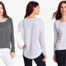 XS Eileen Fisher Slub Linen Tee Ash XSmall Grey High Low Curved Hem Top Shirt