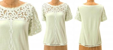 Anthropologie Lace Topped Tee XSmall 0 2 Pale Green Grosgrain Trim