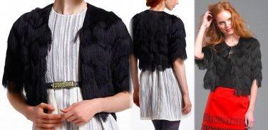 S Anthropologie Zigzag Fringe Jacket Black $248 Small Tracy Reese 2 4