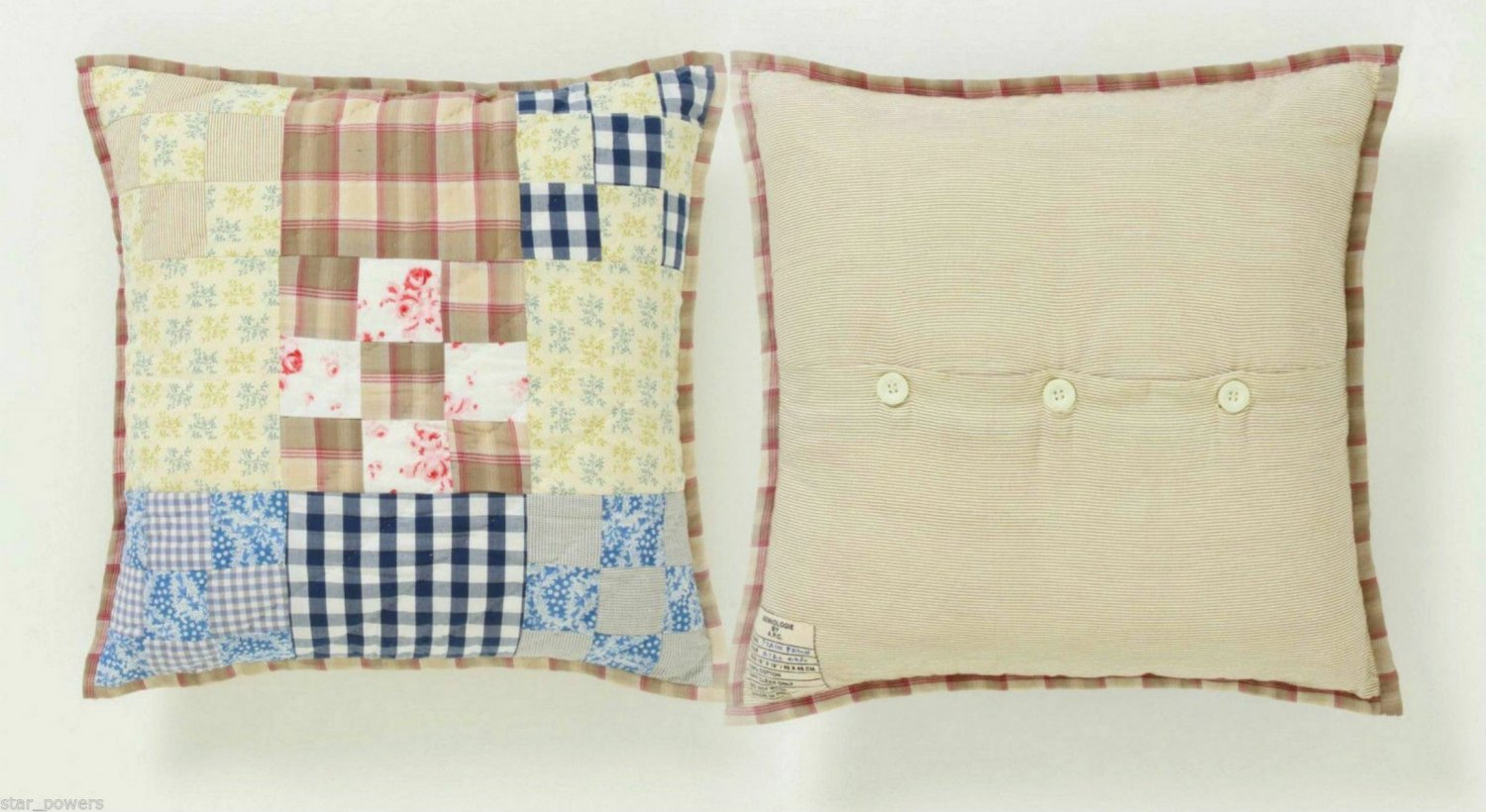 Anthropologie A.P.C. Semiologie Pillow Plain & Patch Hand-quilted Navy