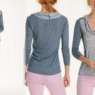 Anthropologie Divoted Cowlneck Top Medium  6 8 Blue Pullover Blouse Made in USA