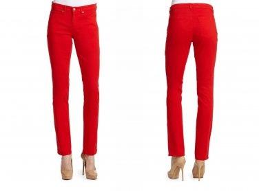$178 Eileen Fisher Skinny Jeans 4 Small Red Lava Oragnic Twill Stretch Zip Ankle NWT