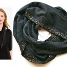 $258 Eileen Fisher Fine Merino Banded Micro Gold Sequins Infinity Scarf Charcoal Grey