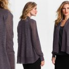 M Eileen Fisher Shimmering Cardigan Medium 6 8 Angled Hem Wool Twilight $298 Sparkle