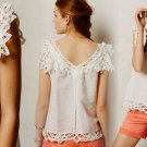 Anthropologie Fluttered Lace Tank Medium 6 8 Ivory Top Blouse Linen