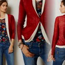S Anthropologie Insider Cardigan Sweater Small 2 4 Red White Trim Troubadour