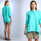 PP Eileen Fisher Mandarin Collar Organic Linen Shirt Petite P Blue Deep Aqua