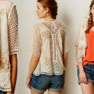 $198 Anthropologie Clemente Cardigan Small 2 4 Ivory Hand Knit Details