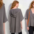 M DVF Hooded Poncho Medium 6 8 Wool Madoka Oversized Surplice Cape Grey Gray